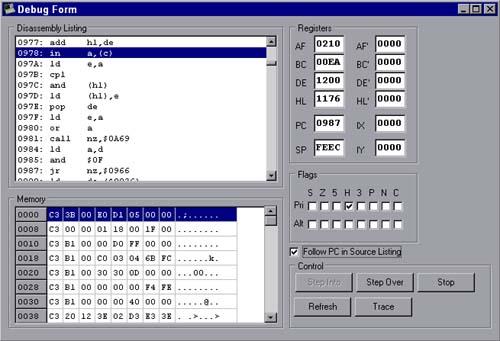 MZ80B Emulator Debugger