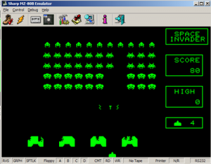 MZ80B Game Screenshot - Space Invaders